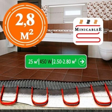 Под плитку или в стяжку MiniCableE 25 м¹ - 450 W - «от 2,50 м² до 2,80 м²»