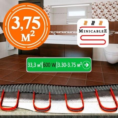 Под плитку или в стяжку MiniCableE  33,3 м¹ - 600 W - «от 3,30 м² до 3,75 м²»