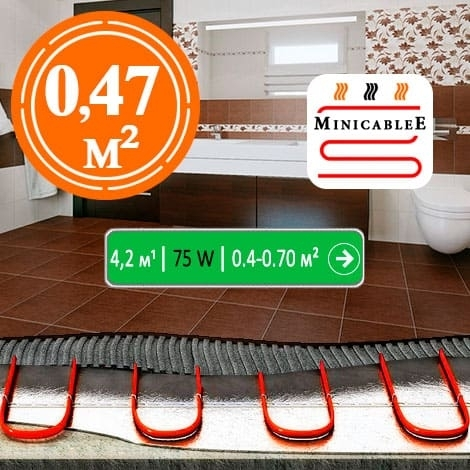 Под плитку или в стяжку MiniCableE 4,2 м¹ - 75 W - «от 0,4 м² до 0,47 м²»