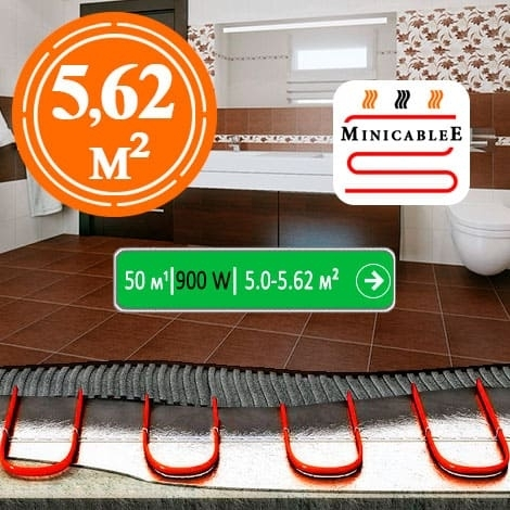 Под плитку или в стяжку «MinicableE»  50 м¹ - 900 W - «от 5 м² до 5,62 м²»