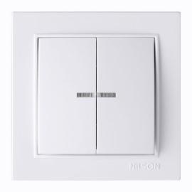 Выключатель 2-клавишный NILSON с подсветкой