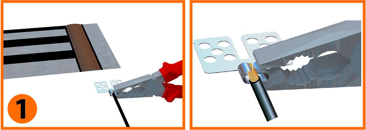 Рис. 1 - зачистить провод, вставить в клемму и хорошо обжать плоскогубцами.
