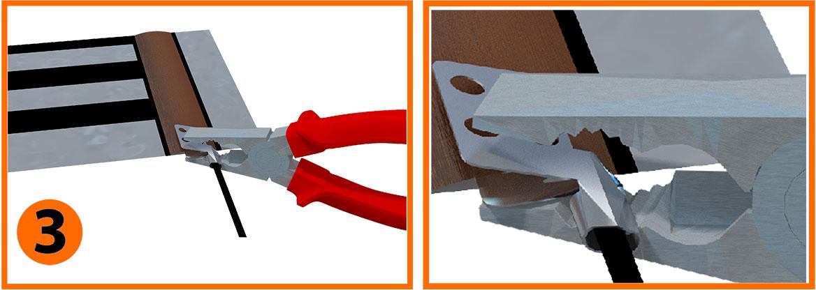Рис. 3 - Хорошо плоскогубцами сожмите клемму. Благодаря специальному устройству клеммы контакт с токоведущей шиной будет в нескольких местах.
