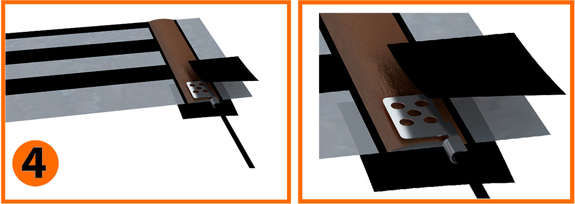 Рис. 4 - Возьмите 2 кусочка битумной изоляции и заизолируйте место контакта