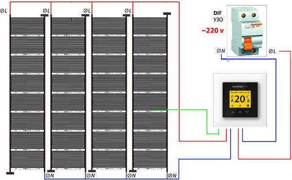 Двусторонняя схема подключения инфракрасной нагревательной пленки